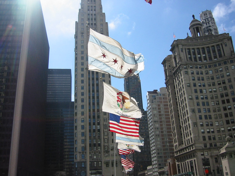 Flags along the Michigan Avenue Bridge.
