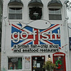 go fish!<br /> a british fish & chip shop and seafood restaurant. ..Check out the red English telephone box door!!