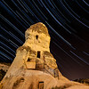Star trails over Cappadocia.