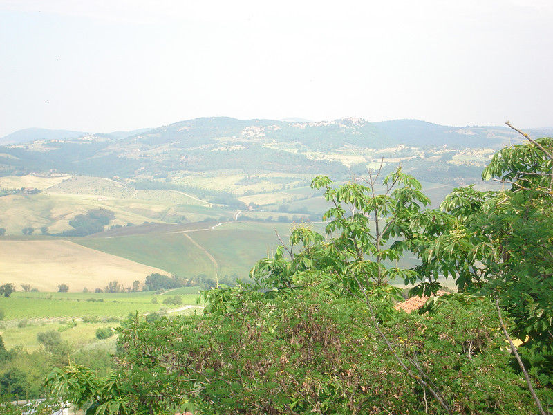 FROM MONTEPULCIANO - I THINK THAT MAYBE PIENZA IN THE DISTANCE
