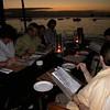 Checking the Menu at Blues Restaurant, Zanzibar. Ita + Paddy M, Adair, P.C., Cora and Kay.