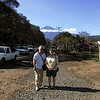 Tim and Cora in Arusha, Mount Meru in the background.
