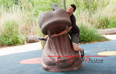 "My nut of a son ""Jonathan"" trying to wrestle with a hippo. Very embarrising to think he's mine at times :-)"