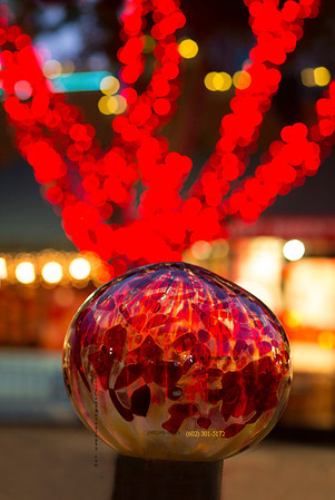 Red Glass ball & xmas lights MILL Ave 2903