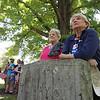 Tewksbury Memorial Day ceremony at Tewksbury Cemetery. Dorothy Sampson, left, and her friend and neighbor Nancy Leone, listen.  (SUN/Julia Malakie)