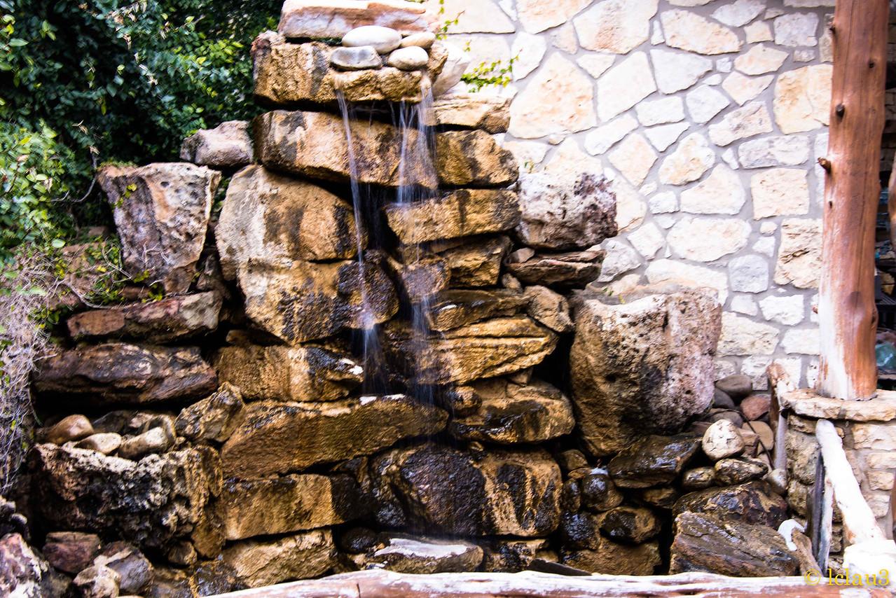 Wildseed Farm rock water feature
