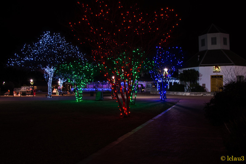 Christmas in the downtown park in Fredericksburg, TX