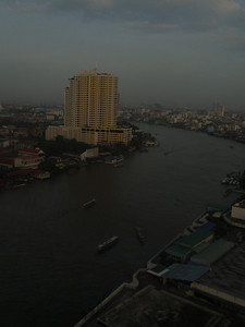 More views from our room - this is looking up river or the Chaoa Praya as it is called in Bangkok.  We loved touring the city by water taxi.