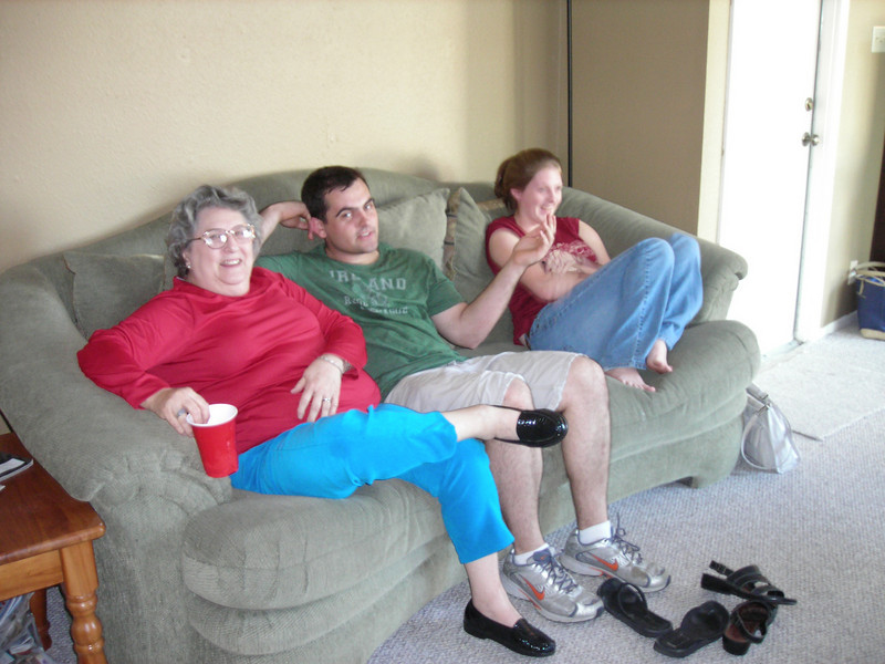 Nanna, Clint, Hannah <br /> Relaxing after the meal.
