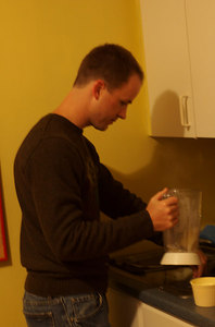 Thanksgiving #2: Chris improvising...mashed potatoes in the blender