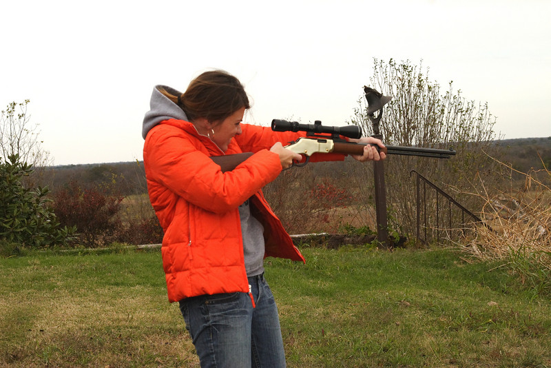 Sarah shooting the .22