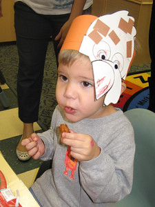 Garrett with his turkey hat.  This was at his Thanksgiving party at school.