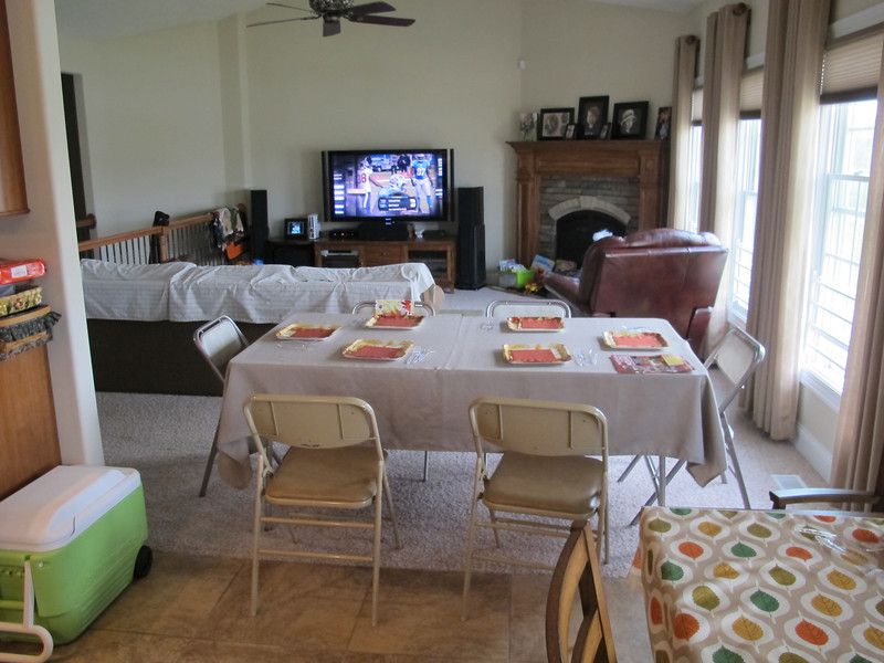 An extra table and chairs from Grandma and Grandpa to accommodate 14 people.