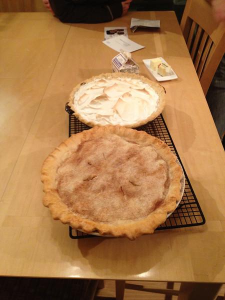 Apple pie by Aimee, chocolate meringue by Pops (11.21.12)