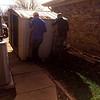 Moving storage sheds due to sprinkler leak (11.30.13)