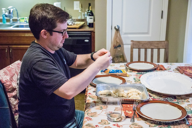 Evan preparing the rolls.