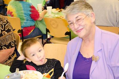The food is hot and tastes good, Mason Johnson tells grandma Cyndi Hoyt.