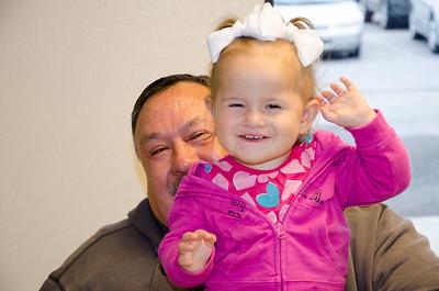 Sadi McCann is happy with her grandpa, Dewayne McCann.