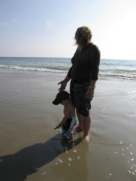 Owen had a blast, but struggled with a little vertigo, I think, when the waves would wash in and out