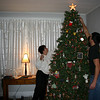 Lori and Cory decorating the Christmas tree.  ( 2005 )