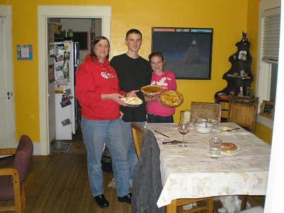 Battle of the pies:  Joan's lemon meringue, Jackson's pumpkin and Steph's apple!