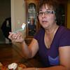 Lori enjoys some pumkin pie on Thanksgiving ( 2011 )
