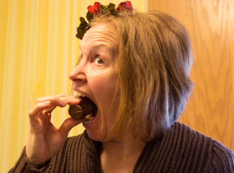 2014   Christi eating a chocolate turkey