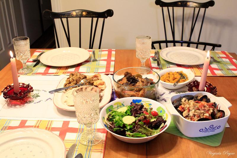 We had roasted chicken, leftover Zarzuela, Chinese Garlic Eggplant, acorn squash, and mixed green salad.