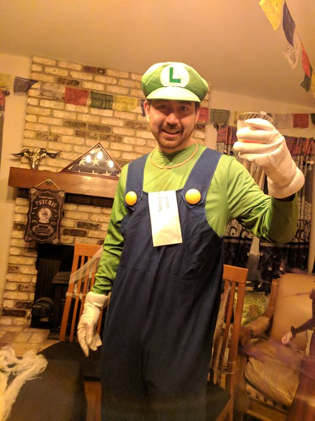 Princess Peach is babysitting Mario at home so only Luigi came to party