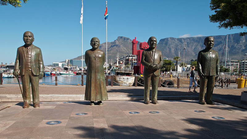 Nobel Square at the V&A waterfront has statues of South Africa's four Nobel Peace Lureates.  They are Albert Lithuli, Desmond Tutu, FW de Klerk and Nelson Mandela.