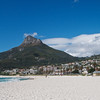 The Lion's head peak, part of the Table Mountain National Park, taken from Camps Bay Beach