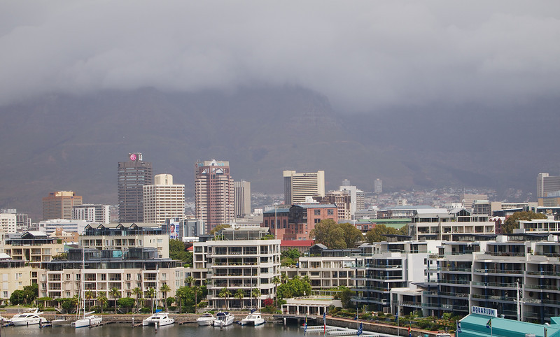 Close up of Cape Town's CBD in inclement weather