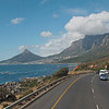 Not bad for a shot taken from the front window of a moving bus eh?  From Kirstenbosch, I decided my next stop would be Camps bay.  A high coastal road with beautiful scenery took us there.