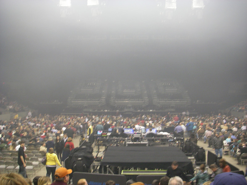 Getting ready for the concert to begin. Haze is from their first concert earlier in the day.