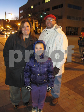 Julaine, Brian, and Cayci Bidleman at the Tree Lighting Ceremony waiting for Santa's arrival.