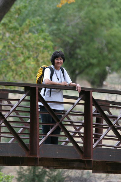 Zion - Emerald Pools Trail - Veena on Virgin River Bridge - 002