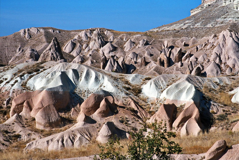 goreme hike - layers of colour in eroded hills
