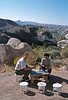goreme hike - cliff and veena and beer