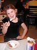 """""""Packing in the pumpkin Pie""""  Alex enjoys her dessert."""