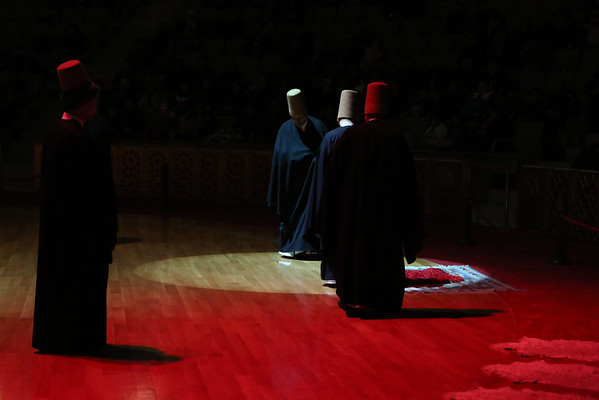 The sheikh leads the ritual with strict regulations. He stands in the most honored corner of the dancing place, and the dervishes pass by him three times, each time exchanging greetings, until the circling movement starts.