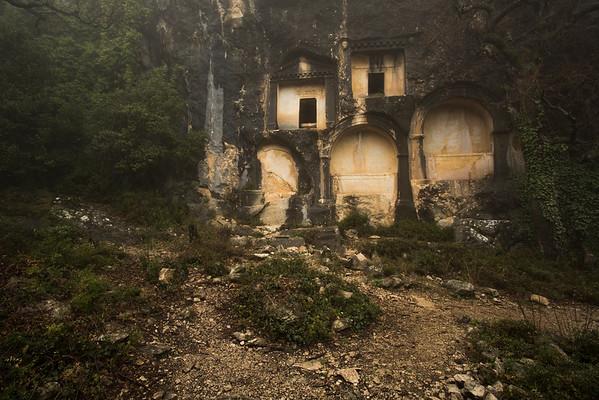 Tombs cut in rock.