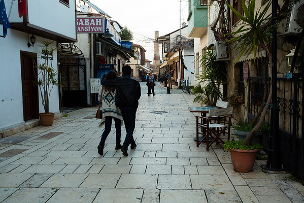 Even in the evening, the old city of Antalya was not very busy.