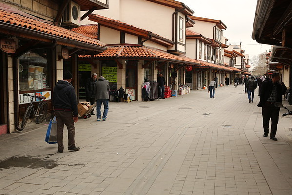 Part of the town is formed of pedestrian streets with shops.