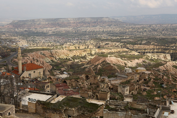 View from the top over the valley of Cappadocia.