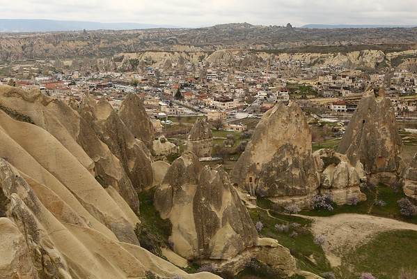 View over Göreme from a nearby cliff side.