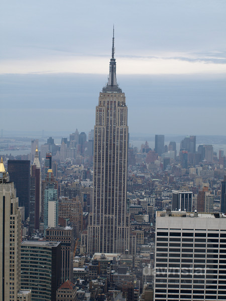 View of the Empire State Building from the top of the Rockafella Center