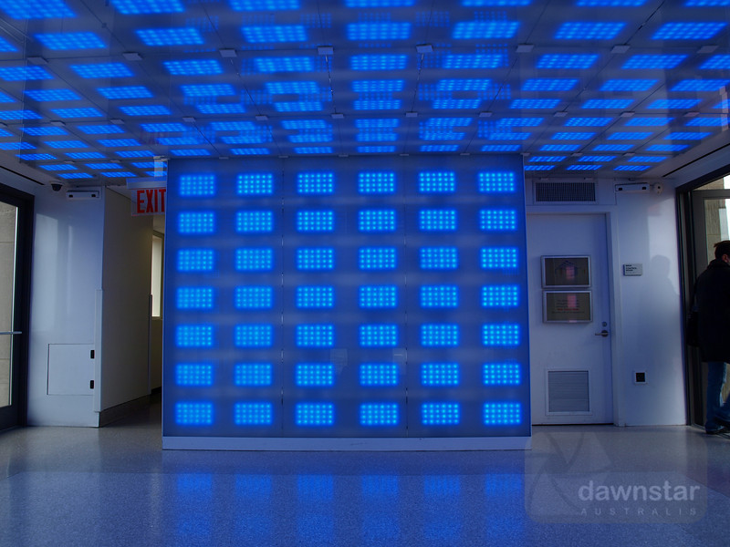 Upper lift lobby at the Rockafella Center - place is wired to respond to movement and noise with different patterns and colours