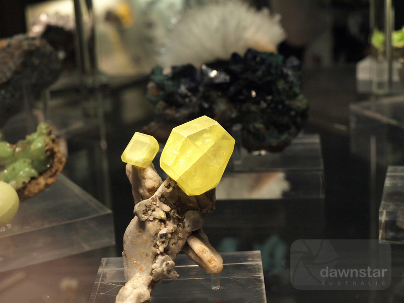 Sulphur crystals on display at the Natural History Museum