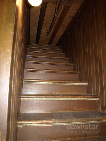 One of the many rooms of the Winchester Mystery House. The stairs quite literally go nowhere.