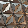 Close up of the exterior of Spaceship Earth at EPCOT
